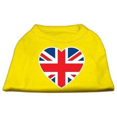 Ahi British Flag Heart Screen Print Shirt Yellow XXL (18)