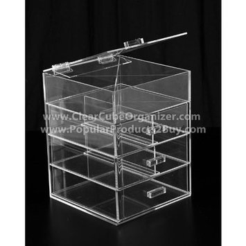 Clear Cube Organizer Acrylic Clear Cube Makeup Organizer 3 Drawers plus one w/Lid Display