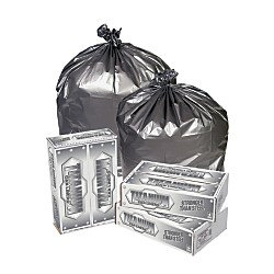 Pitt Plastics Titanium Can Liners, 55 - 60 Gallons, 1.7 Mil, , Silver, Pack Of 50
