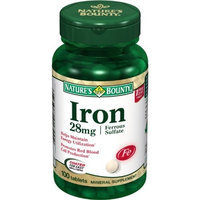 Nature's Bounty Ferrous Sulfate, 28mg Iron, 100 Tablets (Pack of 6)