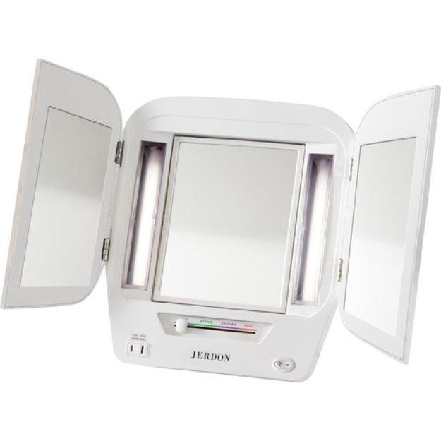 Jerdon Euro Style Tri-Fold Adjustable Makeup Mirror
