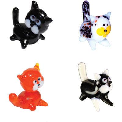 BrainStorm Looking Glass Miniature Glass Figurines, 4-Pack, Black Cat/Calico Cat/Tabby Cat/Kitty Kat