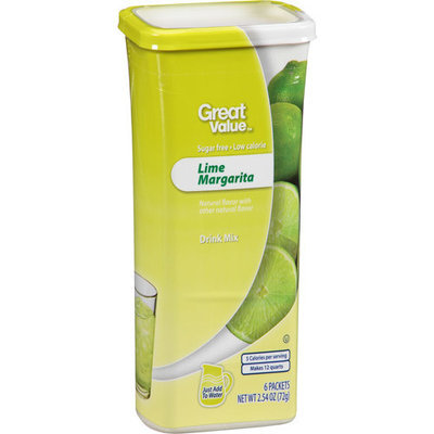 Great Value Lime Margarita Drink Mix, 2.54 oz, 6ct