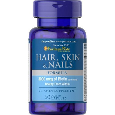 Puritans Pride Puritan's Pride Hair Skin and Nails Biotin Formula Coated Caplets, 3000 Mcg, 60 Count