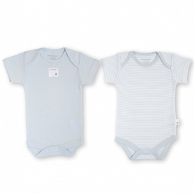Burt's Bees Baby 2-Pack Organic S/S Bodysuits (1 solid + 1 stripe), Sky, 3-6 Months, 1 ea
