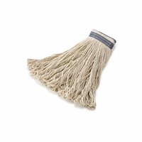 Rubbermaid Commercial Products Universal Headband Cotton Mop Heads with 1'' Blue Headband in White