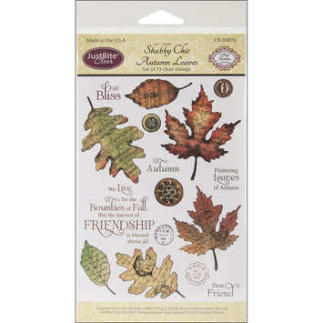 Justrite JustRite Stampers Clear STamp Set-Shabby Chic Autumn Leaves 15pc