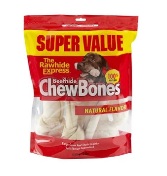 Rawhide Express Value Pack Beefhide Natural Dog Chew Bones 3 lbs