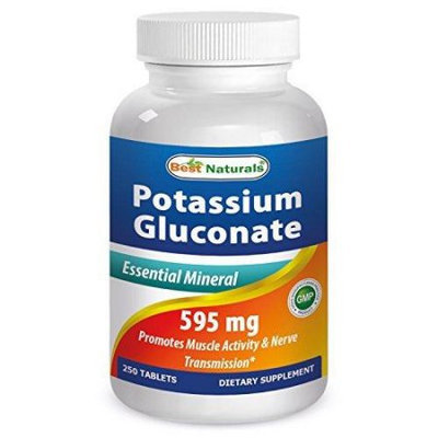 1 Potassium Gluconate 595 Mg 250 Tablets By Best Naturals - Essentials Mineral - Manufactured In A Usa Based Gmp Certif