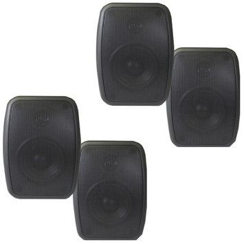 Theater Solutions 2 Pairs of New Indoor or Outdoor Weatherproof HD Mountable Black Speakers 2TS525ODB
