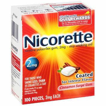 Nicorette Cinnamon Surge Gum 2mg 100 ct.
