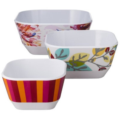 Room Essentials 3 Piece Floral Nesting Bowl - White/Red