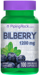 Piping Rock Bilberry Extract 1200mg 100 Capsules