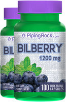 Piping Rock Bilberry Extract 1200mg 2 Bottles x 100 Capsules