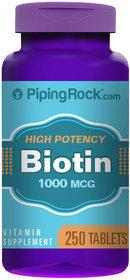 Piping Rock Biotin 1000 mcg (1 mg) 250 Tablets