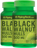 Piping Rock Black Walnut Hulls 500mg 2 Bottles x 60 Capsules