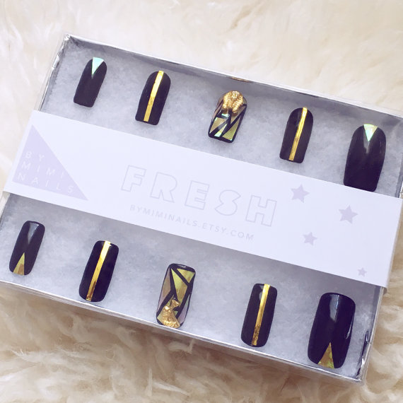ByMimiNails Black and Gold Shattered Glass Egyptian Press On Nails