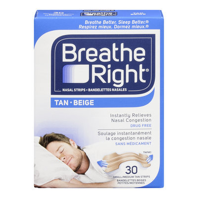 Breathe Right Nasal Strips, Small/Medium, Tan, Drug Free