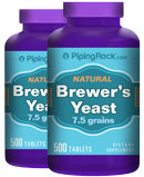 Piping Rock Brewer's Yeast 500 mg 2 Bottles x 500 Tablets