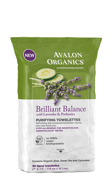 Avalon Organics Brilliant Balance With Lavender & Prebiotics Purifying Towelettes