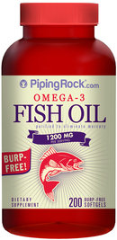 Piping Rock Omega-3 Fish Oil 1000mg Burp Free 200 Softgels