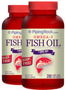 Piping Rock Omega-3 Fish Oil 1000mg Burp Free 2 Bottles x 200 Softgels