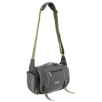 Evecase Large Vintage Canvas Messenger SLR Camera Case Bag With Shoulder Strap For Canon Nikon Sony Panasonic FujiFilm Olympus Pentax And More DSLR Camera Gray HEC0NK31F-1608