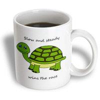 Recaro North 3dRose - Janna Salak Designs Woodland Creatures - Slow and steady wins the race! Green Turtle - 11 oz mug