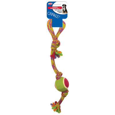 Ethical Pet Products Ethical Dog-Spot Crinkler Rope Tug With Tennis Ball- Assorted 17