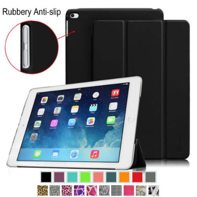 Fintie iPad Air 2 Case - Super Slim Case with Rubberized Anti-Slip Back Cover With Auto Wake / Sleep, Black