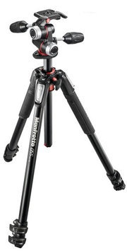 Manfrotto MK055XPRO3-3W Aluminum 3-section Tripod Kit, Includes 3-Way Head with Quick Release Camera