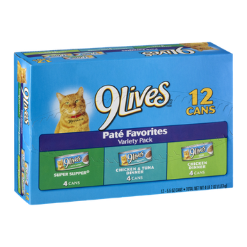 9Lives Cat Food Pate Favorites Variety Pack - 12 CT
