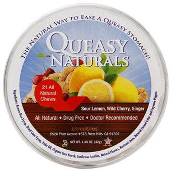 Queasy Naturals Chews, Sour Lemon, Wild Cherry, Ginger, 21 ea