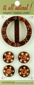 Vision Trims 93320 Handmade Wood Buckle & Buttons-Carved Circles 5-Pkg