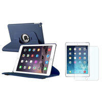 Insten iPad Air 2 Case, by INSTEN Baby Blue Multi Viewing Stand Leather Pouch + Clear Protector for Apple iPad Air 2 2nd Gen