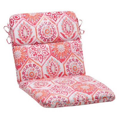 Pillow Perfect Outdoor Rounded Chair Cushion - Pink/Orange Medallion