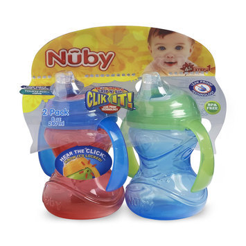 Nuby No Spill Clik-It Trainer Cup 2-Pack - Blue & Green