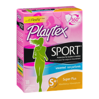 Playtex Sport Unscented Plastic Tampons Super Plus - 18 CT