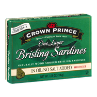 Crown Prince One Layer Brisling Sardines In Oil/No Salt Added