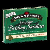 Crown Prince One Layer Brisling Sardines In Oil/No Salt Added
