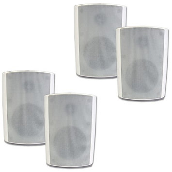 Theater Solutions 2 Pairs of New Indoor or Outdoor Weatherproof HD Mountable White Speakers 2TS5ODW