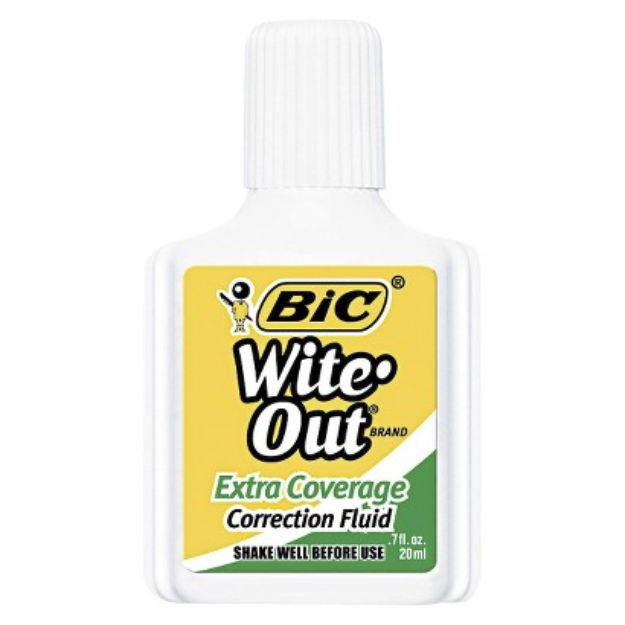 BIC Wite-Out Extra Coverage Correction Fluid, 20 ml Bottle - White
