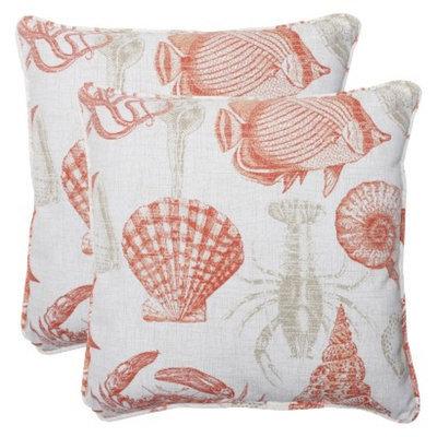Pillow Perfect Outdoor 2-Piece Square Throw Pillow Set - Orange/Tan Sealife