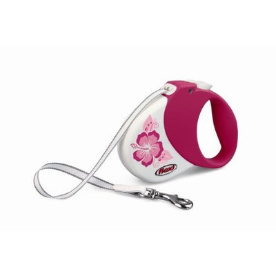 Flexi Hawaii Retractable Belt Dog Leash, Small/Medium, 16-Feet Long, Supports 33-Pound, Pink/Purple Hibiscus