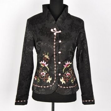 Shanghai Tone® Butterfly Floral Top Jacket Blazer Black Available Sizes: 0, 2, 4, 6, 8, 10, 12, 14, 16