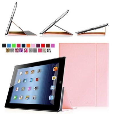 Fintie Smart Book Cover Case Supports Three Viewing Angles for Apple iPad 2, iPad 3 & iPad with Retina Display, Pink