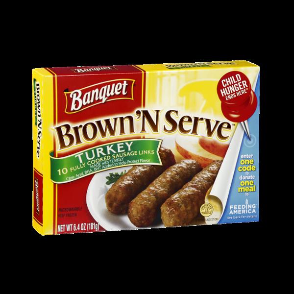 Banquet Brown 'N Serve Sausage Links Turkey - 10 CT