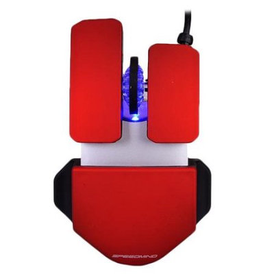 Speedmind 3-Button Adjustable 1600 dpi USB Optical Scroll Gaming Mouse w/LED-Red