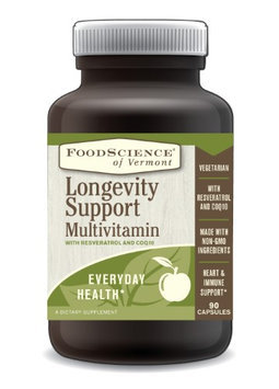 FoodScience of Vermont Longevity Support Multivitamin with Resveratrol and COQ10, 90 Capsules