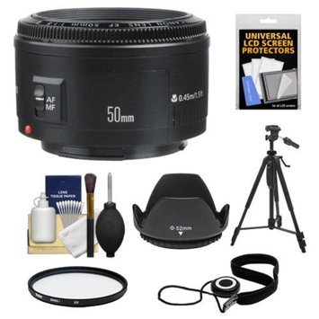 Canon EF 50mm f/1.8 II Lens + UV Filter + ES-62 Lens Hood + Tripod + Kit for EOS 6D, 70D, 5D Mark II III, Rebel T3, T3i, T4i, T5, T5i, SL1 DSLR Camera